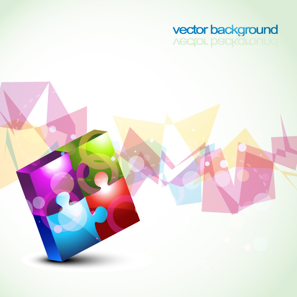 Colorful puzzles vector background material -2