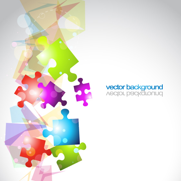 Colorful puzzle vector background material -3