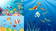 Beautiful underwater world vector material