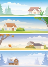 Four Seasons Landscape vector material