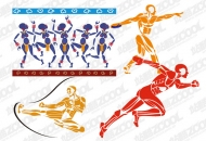 4 sports figures vector material