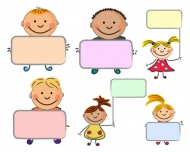 Cute kids placards vector material