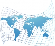 Distorted map of the world vector