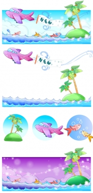 Hand-painted style, summer style series of vector -4
