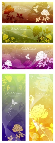 Butterfly Dream roses silhouette vector background