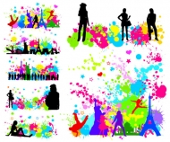 Trend figures dot the city silhouette vector material