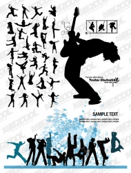 The trend of music and dance figures silhouette vector material