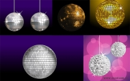 Variety of material vector disco ball