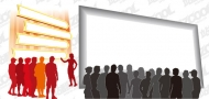 Audience figures silhouette vector material