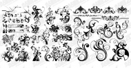 Number of black-and-white pattern vector material for fashion