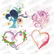 Heart-shaped pattern element vector material