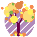 Lovely apple tree theme icon transparent png