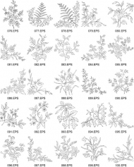 Flower type of line drawing vector diagram-4