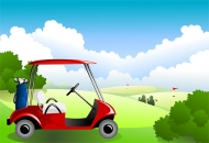 Under the blue sky and white clouds Vector Golf Course material