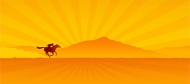 Under the sunset on horseback to vector material