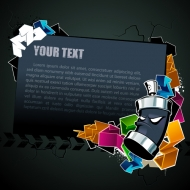 Cool text box black background vector material -2
