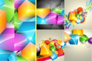 Gorgeous color cube background vector material