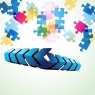 Colorful puzzle vector background material -4