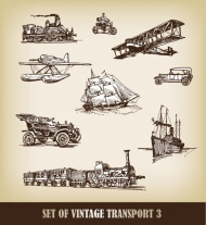 European-style hand-drawn transport carrier 01 - Vector