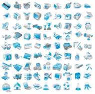3D blue perspective icons (Vector .ai)