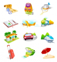 Travel goods cool icon vector material