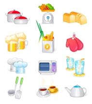 Kitchen supplies, kitchen vector icons Su