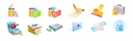 Trash, books, writing, seals, locks and other vector icon