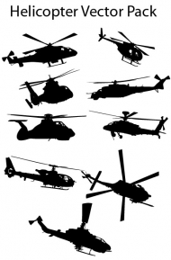 Helicopter silhouette vector material
