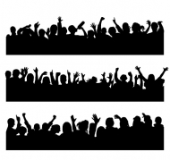 People silhouettes vector material cheering