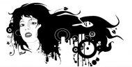 The trend of women in black and white picture vector materia