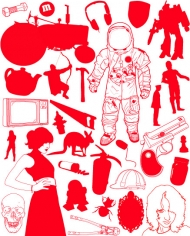 Astronaut, characters, design elements vector