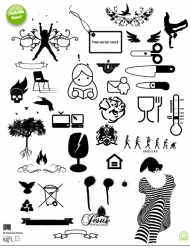 Scissors, patterns, all kinds of vector material