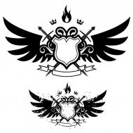 Wings, shield, sword, fire combination of banner vector