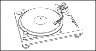 Music can not stop - plastic disc player line drawing vector