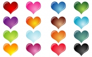 Colorful crystal effect of heart-shaped vector material