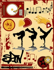 The trend of musical elements vector material