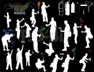 People silhouette Vector paint material