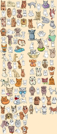 A variety of cats and dogs comic style vector material