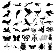 Hundreds of natural element silhouette vector material
