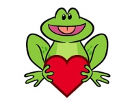 Cute frog holding heart vector material