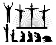 People silhouette Vector religious material