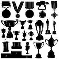 Medals and trophies material vector silhouette