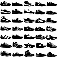 A variety of sports shoes in black and white vector material