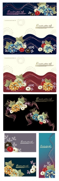 Fashion flowers and lines vector material