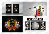 4 speakers with the trend of elements of vector material
