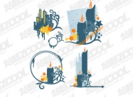 Candle elements high-rise pattern vector material
