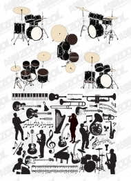 Instruments and people silhouettes vector material