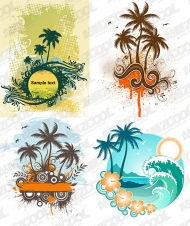 4 coconut trees theme vector material