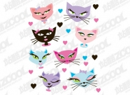Cute cartoon image of the cat vector material