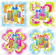 Lovely Style Theme Gift Vector Material ( Free Vector )